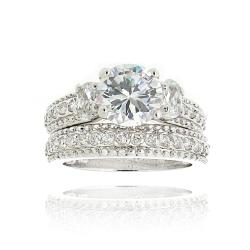 Icz Stonez Rhodiumplated Cubic Zirconia 5 1/5ct TGW Bridal Ring Set