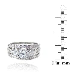 Icz Stonez Rhodiumplated Cubic Zirconia 4ct TGW Bridal Ring Set