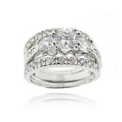 Icz Stonez Rhodiumplated Cubic Zirconia 4ct TGW Bridal Ring Set