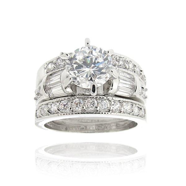 Icz Stonez Rhodium Plated Cubic Zirconia 3ct TGW Bridal Ring Set
