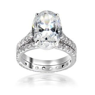 Icz Stonez Sterling Silver Cubic Zirconia 11 3/4ct TGW Bridal Ring Set