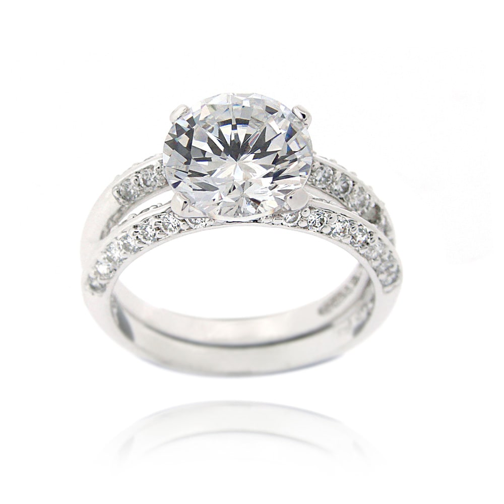 Icz Stonez Sterling Silver Cubic Zirconia 5 1/10ct TGW Bridal Ring Set