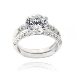 Icz Stonez Sterling Silver Cubic Zirconia 5 1/10ct TGW Bridal Ring Set