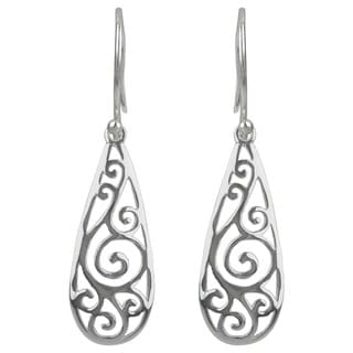 Sterling Silver Filigree Teardrop Dangle Earrings