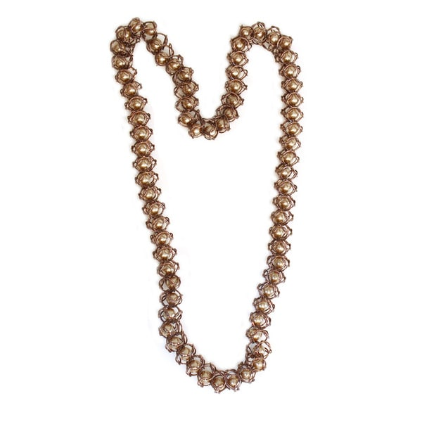 NEXTE Jewelry Coffee Color Faux Pearl Mesh Chain Necklace