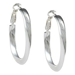 Sterling Silver Twisted Circle Clutchess Hoop Earrings