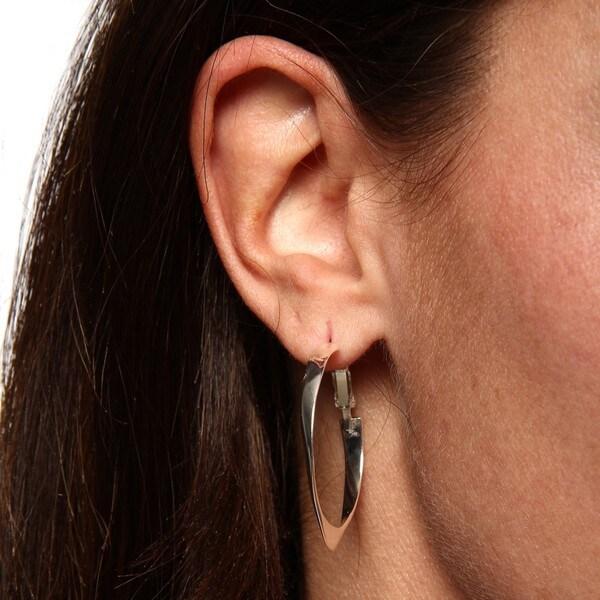Sterling Silver Twisted Circle Clutchess Hoop Earrings