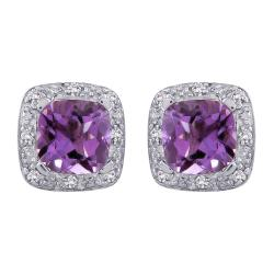 Sterling Silver 0.06ct TDW Diamond and Amethyst Earrings (G-H, I2-I3)