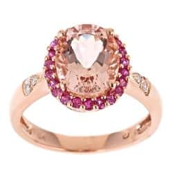 Anika and August D'Yach 10k Rose Gold Morganite, Pink Sapphire and Diamond Ring