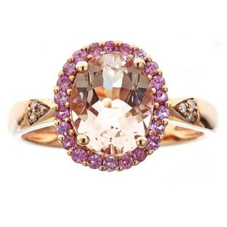 Anika and August 10k Rose Gold Morganite, Pink Sapphire and Diamond Ring