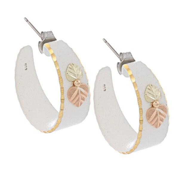 Black Hills Gold White Powdercoated Semi-hoop Earrings