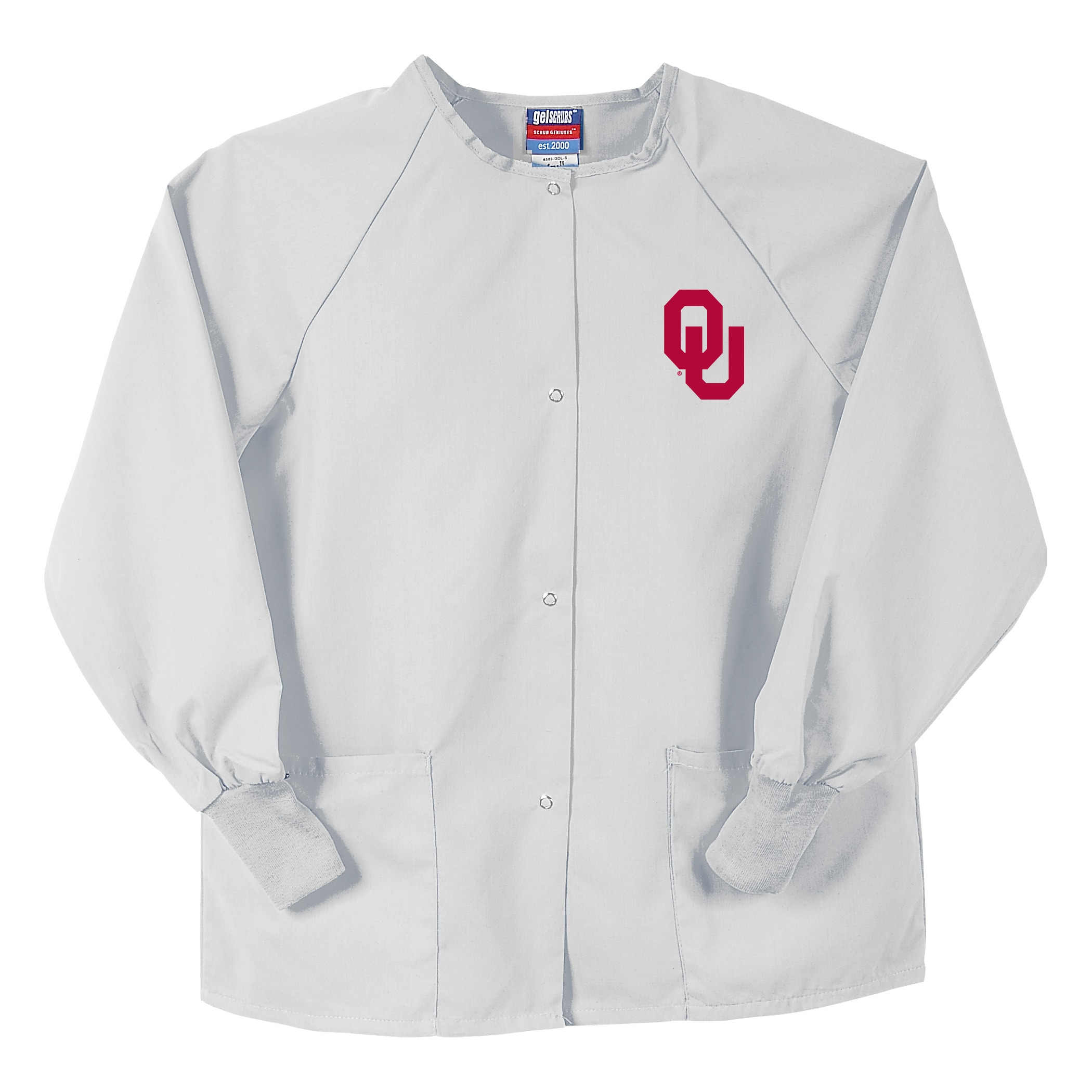 Gelscrubs Unisex White NCAA Oklahoma Sooners Nurse Jacket