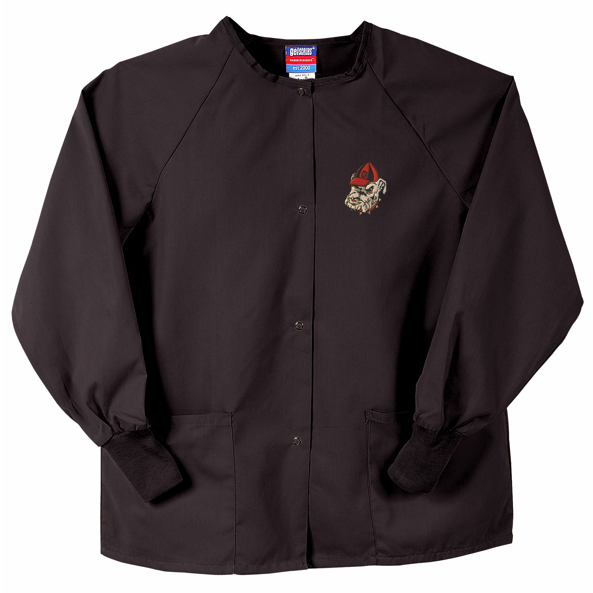 Gelscrubs Unisex Black NCAA Georgia Bulldogs Team Nurse Jacket