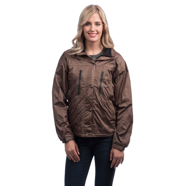 Mossi Ladies RX Taslon Fabric Brown Breathable Rainwear Jacket