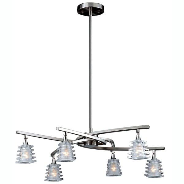 Triarch International 'Milan' 6-light Brushed Steel Chandelier