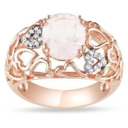 Miadora Pink Silver Rose Quartz and Diamond Fashion Ring (2 1/4 CT TGW)