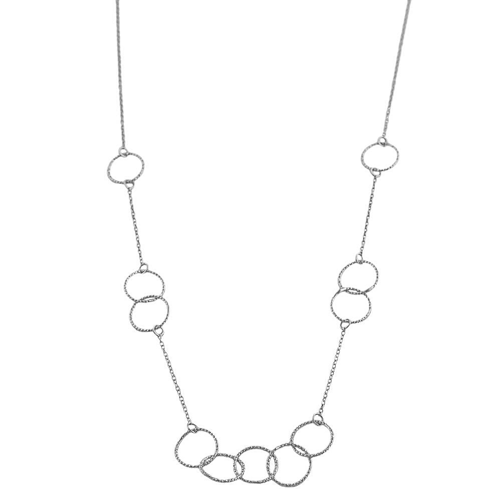 Fremada Rhodiumplated Sterling Silver Diamond-cut Circles Necklace