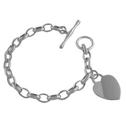 Fremada Sterling Silver Cable Link Heart Charm Toggle Bracelet