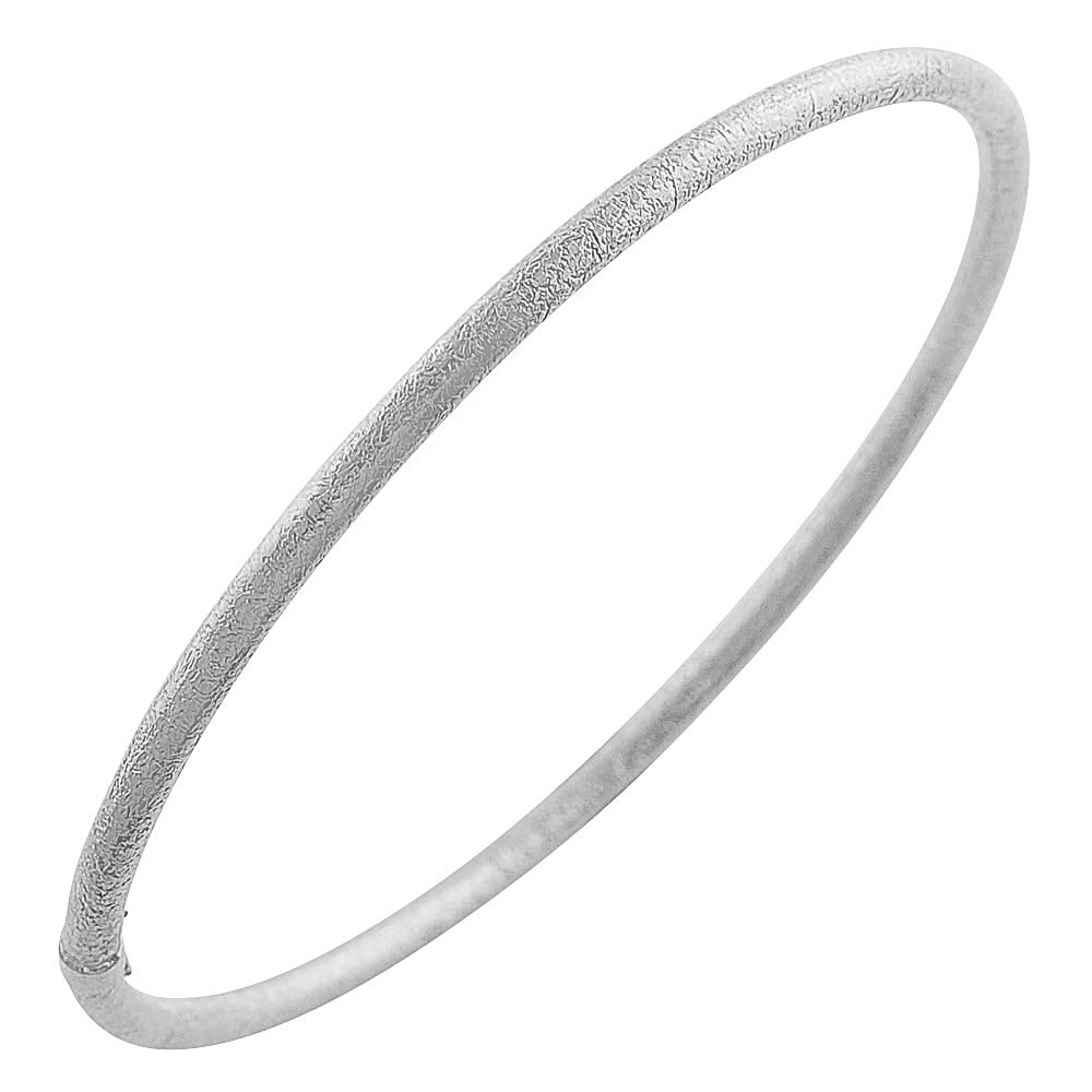 Fremada Rhodiumplated Silver 3-mm Satin Slip-on Bangle