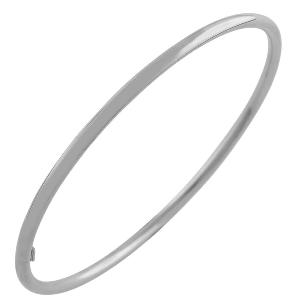 Fremada Rhodium Plated Silver 3 mm Polished Slip-on Bangle