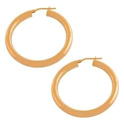 Fremada Gold over Silver 4x30-mm Tube Hoop Earrings