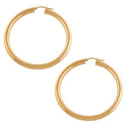 Fremada Gold over Silver 4x40-mm Tube Hoop Earrings