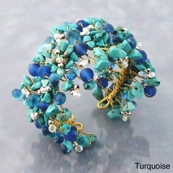 Wide Web Works Goldtone Turquoise Weave Brass Cuff Bracelet (Thailand)