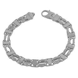 Fremada Rhodium-plated Sterling Silver Men's Fancy Double Link Bracelet