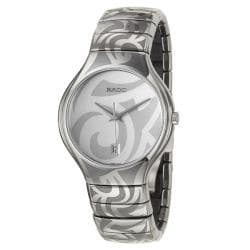 Rado Men's 'Rado True' Ceramic Quartz Watch with Silver Dial
