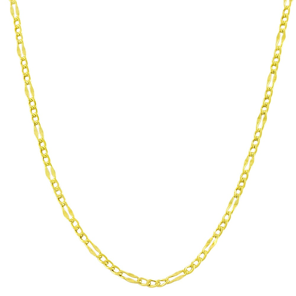 14k Yellow Gold 24-inch Fancy Figaro Link Chain