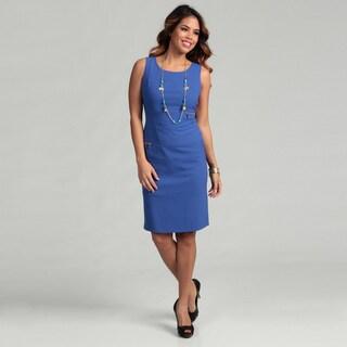 Calvin Klein Women's Lapis Goldtone Zipper Dress