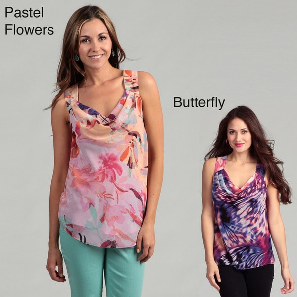 Calvin Klein Women's Abstract Floral Draped Top FINAL SALE