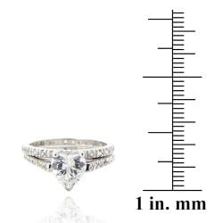 Icz Stonez Sterling Silver Cubic Zirconia 2 3/4ct TGW Bridal Ring Set
