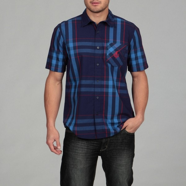 Generra Men's Navy Plaid Woven Shirt