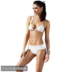 1 Sol Swim Women's 2-piece Triangle Top Embellished Bikini