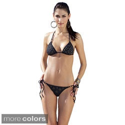 1 Sol Swim Women's 2-piece Triangle Top Embellished Laser Cut Bikini