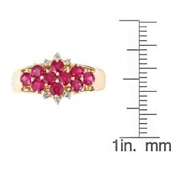 D'Yach 14k Yellow Gold Thai Ruby and 1 1/4ct TDW Diamond Ring (G-H, I1-I2)