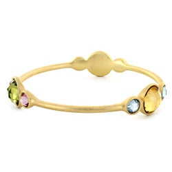 Goldtone Multi-stone Bangle Bracelet
