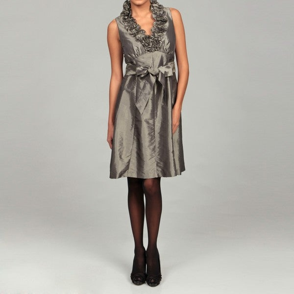 London Times Women's Ruffle Neck Taffeta Dress