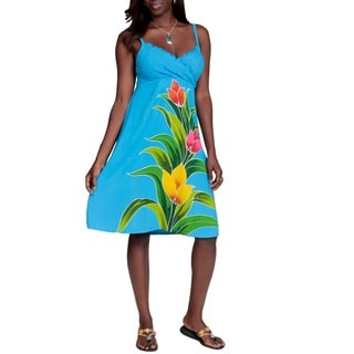 Women's Turquoise Floral V-Neck Sundress (Indonesia)