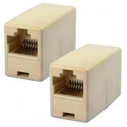Light Beige RJ45 Ethernet Connector Adapter (Pack of 2)