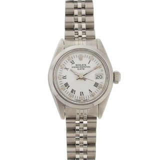 Pre-owned Rolex Women's Datejust Stainless Steel White Roman Dial Watch