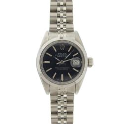 Pre-Owned Rolex Women's Datejust Stainless Steel Black Dial Watch