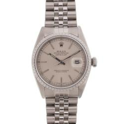 Pre-owned Rolex Men's Datejust Stainless Steel Silver Tapestry Dial Watch