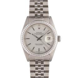 Pre-owned Rolex Men's Datejust Stainless Steel Silver Dial Watch