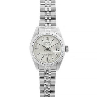 Pre-owned Rolex Women's Datejust White Gold Off-white Tapestry Dial Watch