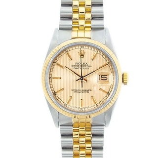 Pre-owned Rolex Men's Datejust Two-Tone Champagne Tapestry Dial Watch