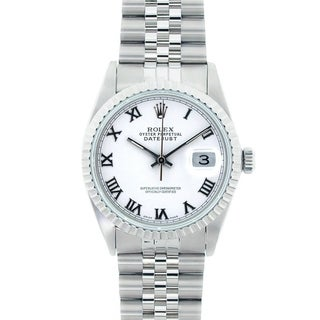 Pre-owned Rolex Men's Datejust Stainless Steel White Roman Dial Watch