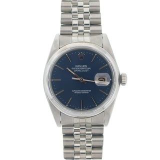 Pre-owned Rolex Men's Datejust Blue Dial Stainless Steel Watch