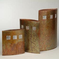 Set of 3 Almond Eye Handwashed Copperleaf Vases (Philippines)